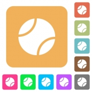 Tennis ball flat icons on rounded square vivid color backgrounds. - Tennis ball rounded square flat icons