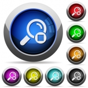 Stop search icons in round glossy buttons with steel frames - Stop search round glossy buttons
