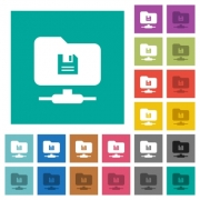 FTP save multi colored flat icons on plain square backgrounds. Included white and darker icon variations for hover or active effects. - FTP save square flat multi colored icons
