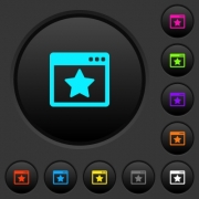 Favorite application dark push buttons with vivid color icons on dark grey background - Favorite application dark push buttons with color icons