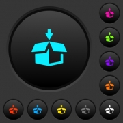Pack to box dark push buttons with vivid color icons on dark grey background - Pack to box dark push buttons with color icons