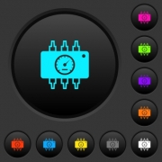 Hardware diagnostics dark push buttons with vivid color icons on dark grey background - Hardware diagnostics dark push buttons with color icons
