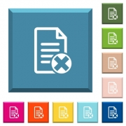 Cancel document white icons on edged square buttons in various trendy colors - Cancel document white icons on edged square buttons