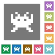 Video game flat icons on simple color square backgrounds - Video game square flat icons
