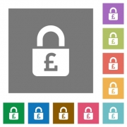 Locked Pounds flat icons on simple color square backgrounds - Locked Pounds square flat icons