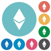 Ethereum digital cryptocurrency flat white icons on round color backgrounds - Ethereum digital cryptocurrency flat round icons