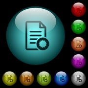 Document certificate icons in color illuminated spherical glass buttons on black background. Can be used to black or dark templates - Document certificate icons in color illuminated glass buttons