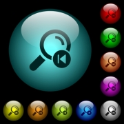 find previous search result icons in color illuminated spherical glass buttons on black background. Can be used to black or dark templates - find previous search result icons in color illuminated glass buttons