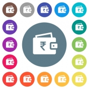Indian Rupee wallet flat white icons on round color backgrounds. 17 background color variations are included.