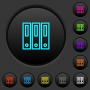 Binders dark push buttons with vivid color icons on dark grey background - Binders dark push buttons with color icons