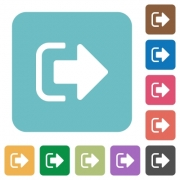 Sign out white flat icons on color rounded square backgrounds - Sign out rounded square flat icons