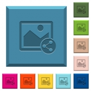 Share image engraved icons on edged square buttons in various trendy colors - Share image engraved icons on edged square buttons