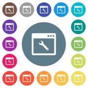 Application maintenance flat white icons on round color backgrounds. 17 background color variations are included. - Application maintenance flat white icons on round color backgrounds