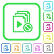 Disabled playlist vivid colored flat icons in curved borders on white background - Disabled playlist vivid colored flat icons
