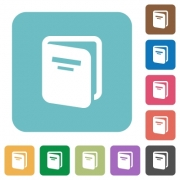 Album white flat icons on color rounded square backgrounds - Album rounded square flat icons
