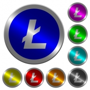 Litecoin digital cryptocurrency icons on round luminous coin-like color steel buttons - Litecoin digital cryptocurrency luminous coin-like round color buttons
