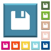 Save data white icons on edged square buttons in various trendy colors - Save data white icons on edged square buttons