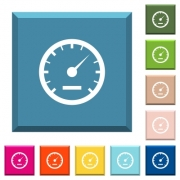 Speedometer white icons on edged square buttons in various trendy colors - Speedometer white icons on edged square buttons
