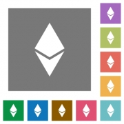 Ethereum digital cryptocurrency flat icons on simple color square backgrounds - Ethereum digital cryptocurrency square flat icons
