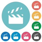 Clapperboard flat white icons on round color backgrounds - Clapperboard flat round icons