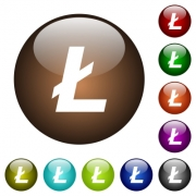 Litecoin digital cryptocurrency white icons on round color glass buttons - Litecoin digital cryptocurrency color glass buttons