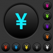 Japanese Yen sign dark push buttons with vivid color icons on dark grey background - Japanese Yen sign dark push buttons with color icons
