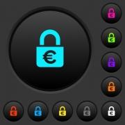 Locked euros dark push buttons with vivid color icons on dark grey background - Locked euros dark push buttons with color icons