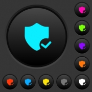 Protection ok dark push buttons with vivid color icons on dark grey background - Protection ok dark push buttons with color icons