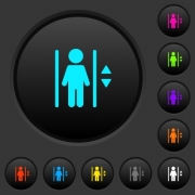 Elevator dark push buttons with vivid color icons on dark grey background - Elevator dark push buttons with color icons