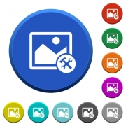 Image tools round color beveled buttons with smooth surfaces and flat white icons - Image tools beveled buttons
