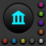 Bank office building dark push buttons with vivid color icons on dark grey background - Bank office building dark push buttons with color icons