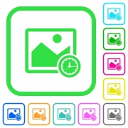 Image time vivid colored flat icons in curved borders on white background - Image time vivid colored flat icons