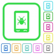 Malicious mobile software vivid colored flat icons in curved borders on white background - Malicious mobile software vivid colored flat icons