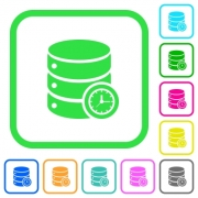 Database timed events vivid colored flat icons in curved borders on white background