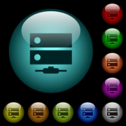 Network drive icons in color illuminated spherical glass buttons on black background. Can be used to black or dark templates - Network drive icons in color illuminated glass buttons