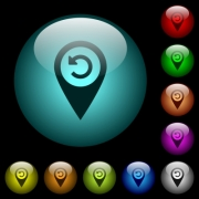 Undo GPS map location icons in color illuminated spherical glass buttons on black background. Can be used to black or dark templates - Undo GPS map location icons in color illuminated glass buttons