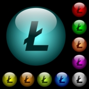 Litecoin digital cryptocurrency icons in color illuminated spherical glass buttons on black background. Can be used to black or dark templates - Litecoin digital cryptocurrency icons in color illuminated glass buttons