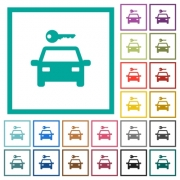 Car rental flat color icons with quadrant frames on white background - Car rental flat color icons with quadrant frames