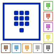 Dial pad flat color icons in square frames on white background - Dial pad flat framed icons