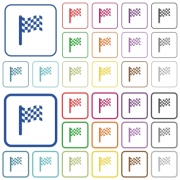 Race flag color flat icons in rounded square frames. Thin and thick versions included. - Race flag outlined flat color icons