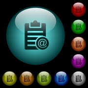 Send note as email icons in color illuminated spherical glass buttons on black background. Can be used to black or dark templates - Send note as email icons in color illuminated glass buttons