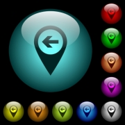 Previous target GPS map location icons in color illuminated spherical glass buttons on black background. Can be used to black or dark templates