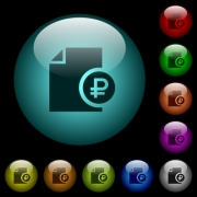 Ruble financial report icons in color illuminated spherical glass buttons on black background. Can be used to black or dark templates - Ruble financial report icons in color illuminated glass buttons