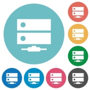 Network drive flat white icons on round color backgrounds - Network drive flat round icons