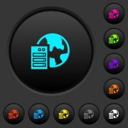 Web hosting dark push buttons with vivid color icons on dark grey background - Web hosting dark push buttons with color icons