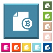 Bitcoin financial report white icons on edged square buttons in various trendy colors - Bitcoin financial report white icons on edged square buttons