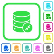 Shrink database vivid colored flat icons in curved borders on white background - Shrink database vivid colored flat icons