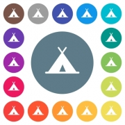 Tent flat white icons on round color backgrounds. 17 background color variations are included. - Tent flat white icons on round color backgrounds