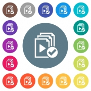 Playlist done flat white icons on round color backgrounds. 17 background color variations are included. - Playlist done flat white icons on round color backgrounds