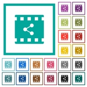 Share movie flat color icons with quadrant frames on white background - Share movie flat color icons with quadrant frames